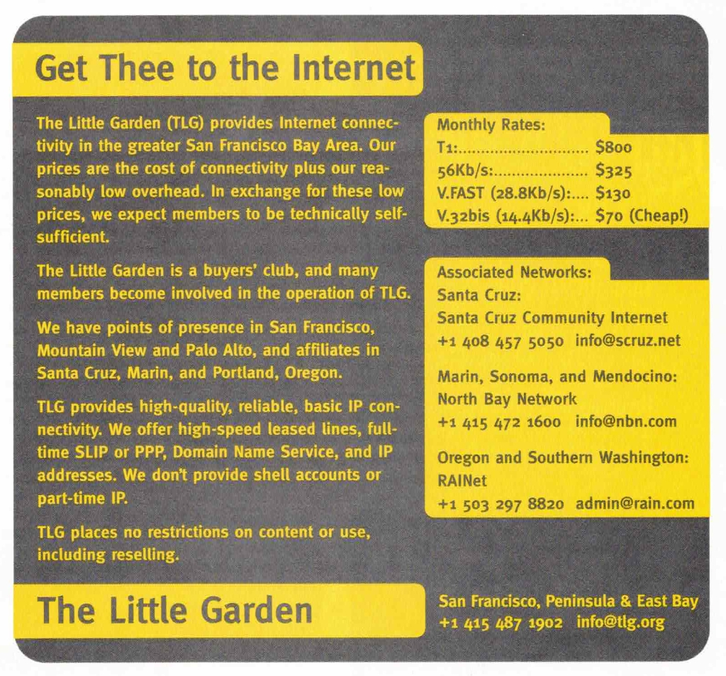 "Advertisement for Internet Service Provider ""The Little Garden"", scanned from the August 1994 issue of WIRED magazine."